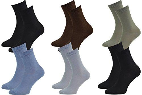 6 pares de calcetines de bambú para señora y caballero, 2x Negro Ceniza Oliva Marrón Vaquero, suaves y cómodos, fabricados en la UE, Tallas 39 40 41 by Rainbow Socks