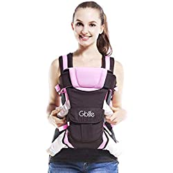 GBlife 4-en-1 Portabebés Ajustable Portadores para Infantil del Bebé Recién Nacido con Hebilla Backpack Baby Carrier(Rosa)