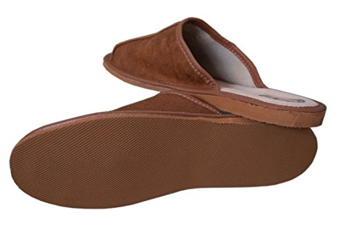 Pantofole da uomo in pelle naturale Mules Brown / 3