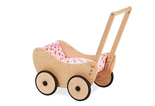 Pinolino Puppenwagen Trixi, aus Holz, inkl. Bettzeug und Bremssystem, Lauflernhilfe mit gummierten Holzrädern, für Kinder von 1 - 6 Jahren, natur (Vollständige Bettwäsche Mädchen)