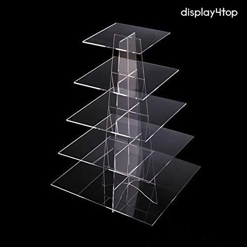 Display4top, alzata da esposizione in acrilico per cupcake, per matrimonio o festa di compleanno, Acrilico, 5 Tier Suqare
