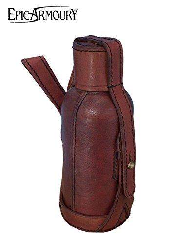 600 Leder (Flaschenhalter aus Leder mit 600 ml Flasche Wasserflasche Outdoorflasche viele Farben (Rot))