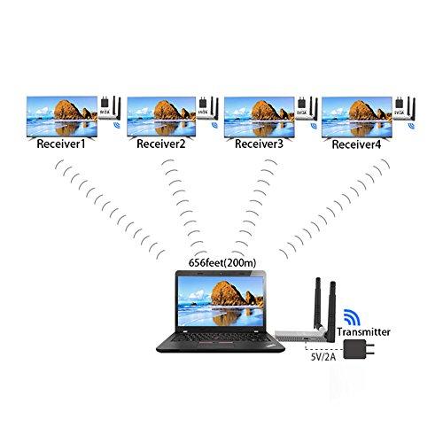 Trasmettitore wireless HDMI da 200 M / 656FT 5.8 GHz Ricevitore wireless trasmettitore HDMI con IR WIFI Estensore wireless Extensor HDMI
