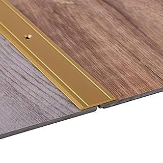 Gedotec Übergangsprofil Aluminium Boden-Leiste Küche Übergangs-Schiene zum Schrauben | 200 cm | Bodenprofil Alu Messing massiv | Ausgleichsprofil flach gelocht | 1 Stück