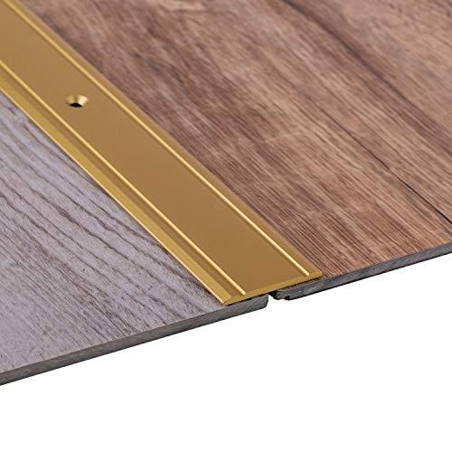 Gedotec Übergangsprofil Aluminium Boden-Leiste zum Schrauben Übergangs-Schiene für Laminat - Vinyl - Parkett | 200 cm | Bodenprofil Alu Messing | Ausgleichsprofil gelocht | 1 Stück - Türschwelle flach - Übergangs-metall
