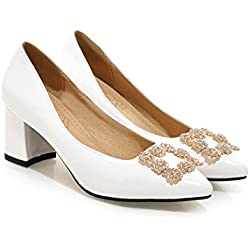 Frauen Thick Niedrige Ferse Mental Dekor Lackleder Pumps Schuhe (33.5, Weiß)