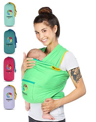 YUNIQME® Tragetuch fürs Baby NEU! - Elastisches Babytragetuch aus 100% Baumwolle - GOTS - Babysling für Neugeborene - Bauch Babytrage I Baby Zubehör - OEKO TEX  - Farbkombination Tuch Grün -