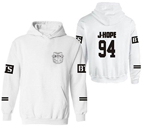 SERAPHY BTS Felpe con cappuccio Bangtan Boys felpe calde con pile Suga Jin Jimin Jung Kook J-Hope Rap-Mostro V bianca-94-J HOPE