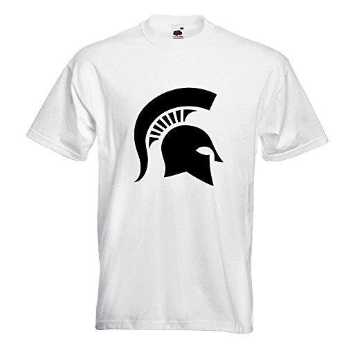 KIWISTAR - Spartaner Profil T-Shirt in 15 verschiedenen Farben - Herren Funshirt bedruckt Design Sprüche Spruch Motive Oberteil Baumwolle Print Größe S M L XL XXL Weiß