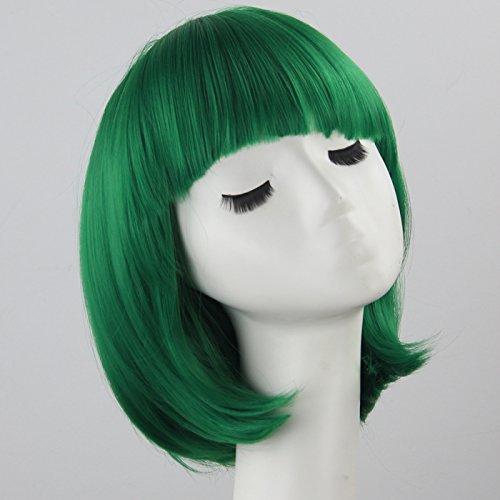 becret fille Cosplay Perruque Droite Courte Bob cheveux perruque synthétique résistant à la chaleur Vert foncé pour beau filles