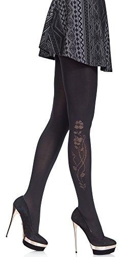 Merry Style Damen gemusterte Strumpfhose MS 376 60 DEN (Schwarz, M (36-40))