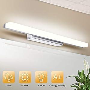 KINGSO LED Spiegelleuchte 50cm aus Acryl Neutralweiß 12W Badleuchte Wand IP44, Spiegellampe Badlampe 800lm Wandlampe Bad 4000K Schminklicht Badspiegel Lampe AC 230V