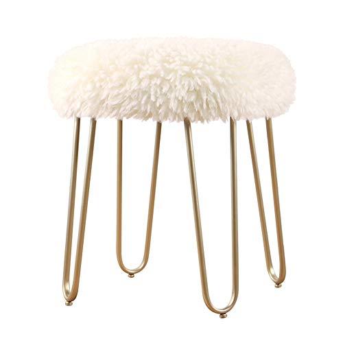 Hocker Arbeitshocker Sitzhocker Sitzbank Niedriger Schemel Einfacher Frisierhocker Moderner Schminkhocker Runder Schemel Eisenkunst Änderung FENGMING (Farbe : White - Lamb Hair - Gold)