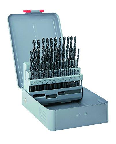 alpen HSS Spiralbohrer, Kreuzanschliff AC, kurz, DIN 338 RN, Durchmesser 1-5,9 x 0,1 mm als 50-teiliger Satz in der Metallkassette, 100351100