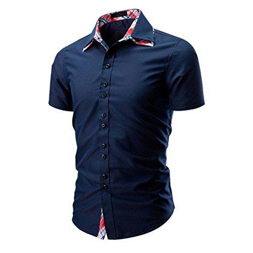VENMO Herren Sommer T-Shirt modernes Sweatshirt Crew Neck Stehkragen Kurzarm Longsleeve Basic Shirt Freizeit Hemd Herren T-Shirt Knopfleiste mit Großen Knöpfen Slimfit Big Buttons bunt Rollkragen (Marine, XXXL)