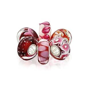 Bling Jewelry Rosa Rot Weiss Murano Glas Sterling Silber Spacer Bead Charms Passend Für Europäische Charm Armbänd Für Damen