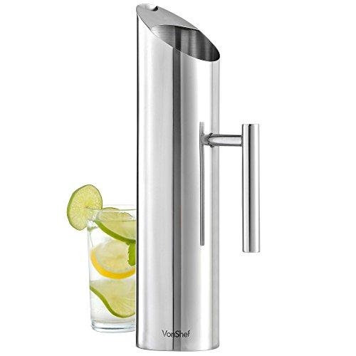 VonShef Wasserkrug Karaffe Edelstahl 1,7 Liter /3 Pints mit Eisschutz