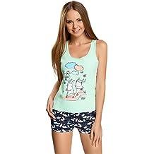 oodji Ultra Mujer Pijama de Camiseta de Tirantes y Pantalón Corto con Estampado