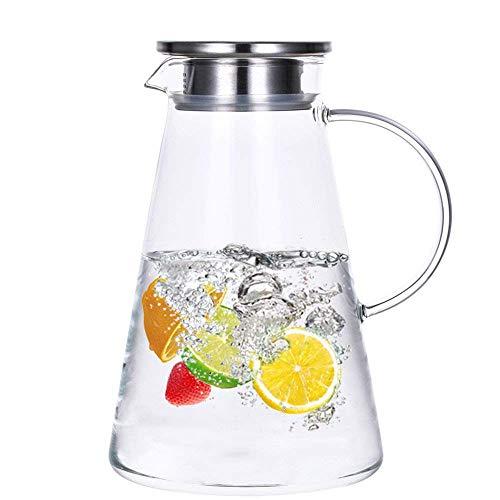 Khomui 2.0 Liter Glas Krug karaffe mit Deckel, Eistee Wasserkrug Heißes Kaltes Wasser Eistee Wein Kaffee Milch und Saft Getränkekaraffe wasserkaraffe glaskaraffe