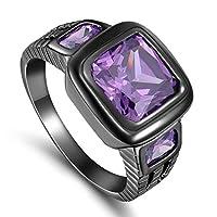 خاتم للرجال أسود مطلي روديوم بحجر كريم جمشيت (سوليتير S-Z) بنفسجي مقاس US 10