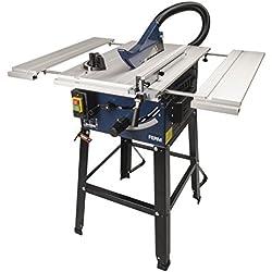 FERM Scie à table 1800W 250mm - Table avec 2 rallonges - Incl. 1 lame et adaptateur d'aspirateur