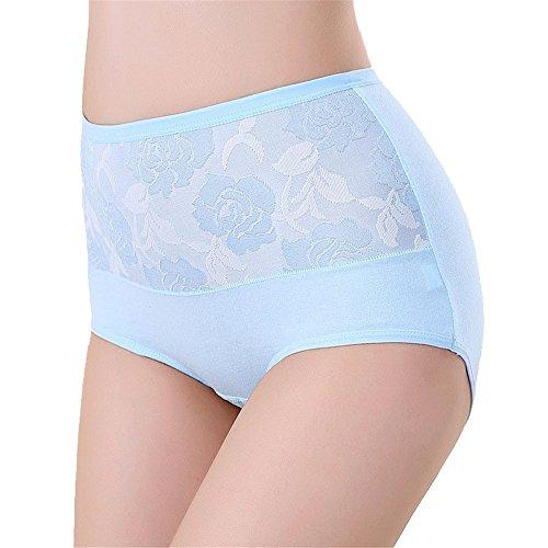 Damen Underpant hohe Taille Slips Unterwäsche aus Baumwolle Höschen einfarbig in Übergrößen (XXL, Blau) (Baby Junior Doll Blau)