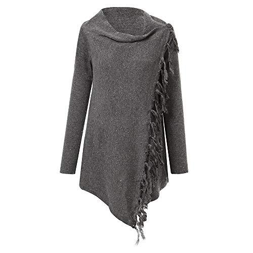 VEMOW Herbst Winter Casual Frauen Langarm Blusen Quasten Hem Rundhalsausschnitt Strickjacke Tägliche Party Workout Bluse Tops Shirt Pulli(X2-Dunkelgrau, 40 DE/L CN)