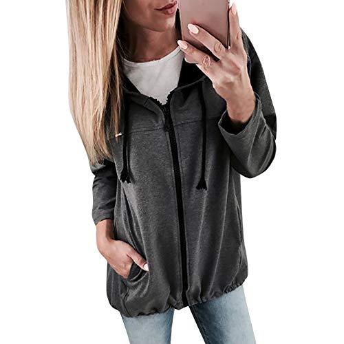 OSYARD Damen Voller Reißverschluss Kapuzenpullover Sweatshirts, Mode Frauen Reißverschluss Langarm Sweatshirt Outwear Kapuzenjacke Sport Mantel Outwear (L, Tief grau)