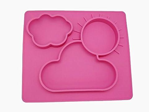 Extra Large Enfant Placemats Assiettes en silicone pour bébé, parfait pour la diversification alimentaire gérée par bébé(pink)