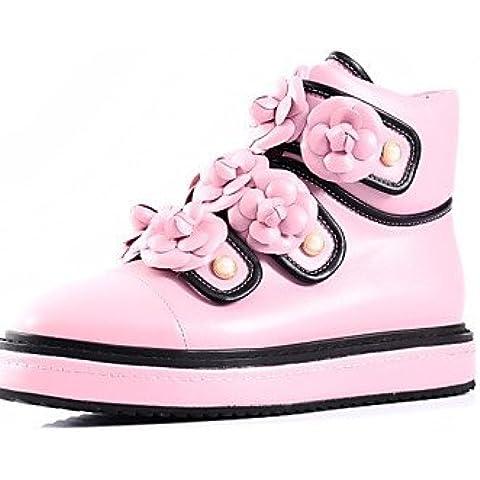 Donna stivali inverno Appartamenti vacchetta / casual in pelle tacco piatto Fiore nero / rosa a piedi,Rosa,noi9.5-10 / EU41 / UK7.5-8 / CN42