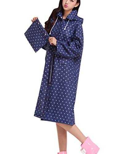 Donna Giacca Impermeabile Antipioggia Poncho Con Cappuccio Spesso Cerniera Blu Punto