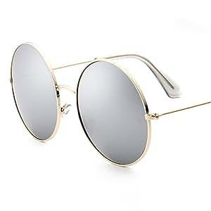 SUNGLASSES LVZAIXI Klassische Lennon runde polarisierte Schutz-Sonnenbrille mit Weinlese-Kreis-Metallrahmen-Frühlings-Scharnier (Farbe : Blau) 88oz7lMdiL