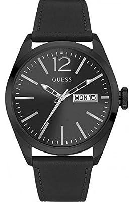 Guess W0658G4 - Reloj con correa de piel, para hombre, color negro