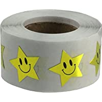 Smiley Face Star Stickers, 3/4 Inch Wide, 500 Labels on a Roll
