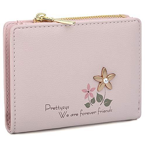 UTO Portafoglio piccolo per Ragazza siamo amici per sempre con Fiore Pelle sintetica Portamonete con cerniera Rosa