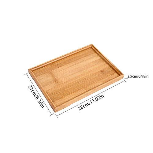 Colinsa Rechteckiges Holztablett Serviertablett Tabletts Wooden Bamboo Tray Japanischen Stil Für Obst Brot Tee Frühstück Dessert, 3 Größe Japanische Brot