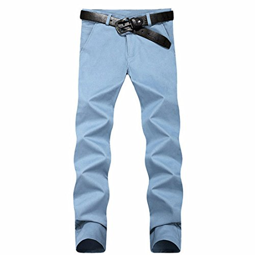 Men's Casual Slim Fit Skinny Cotton Trousers light wLight Sky Blueithout belt