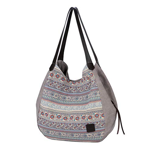 Zzxian etnici semplice borsa a spalla donna borsa donna borsa tela borse donna tracolla borsellino borsello borsetta tracolla grande capienza borse tote per lavoro viaggio (grigio)