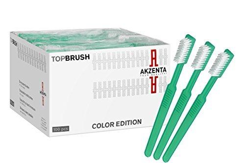 Einwegzahnbürsten Einmalzahnbürsten Zahnbürsten mit Zahngel Zahnpasta 100 Stück Reisezahnbürste von Akzenta verschiedene Farben W5 (Grün)