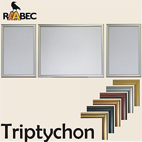 Preisvergleich Produktbild Triptychon Bilderrahmen Set 3teilig, Größe 98 x 38 cm, Farbe Silber, ideal für Triptychon Puzzle z.B. von Ravensburger