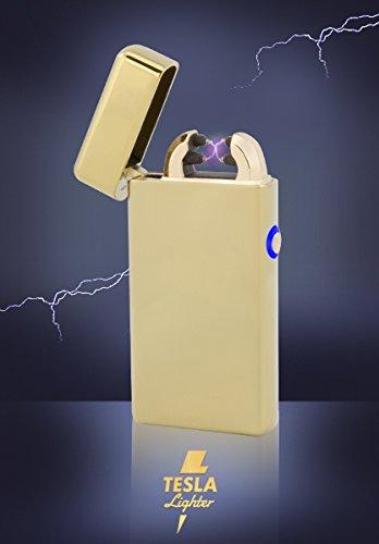 Tesla-Lighter T08 | Lichtbogen Feuerzeug, Plasma Double-Arc, elektronisch wiederaufladbar, aufladbar mit Strom per USB, ohne Gas und Benzin, mit Ladekabel, in edler Geschenkverpackung, Gold