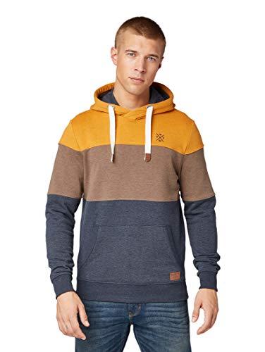 TOM TAILOR für Männer Strick & Sweatshirts Hoody im Colourblock-Look Yellow White Base Melange, L -