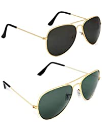 Dervin Aviator Men's and Women's Sunglasses Combo (Black, Green) - Pack of 2