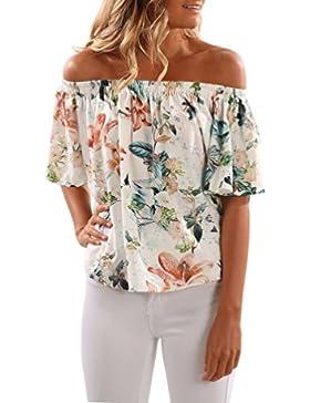 Sentao Mujer Floral Camiseta Playa Sin Tirantes Impresión Blusa Camiseta Tops