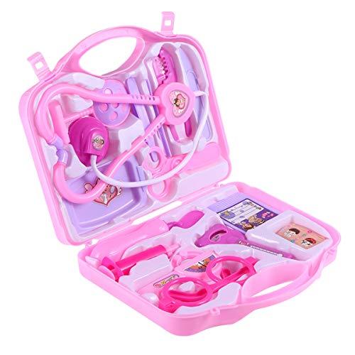 Toyvian Kinder Arzt Kit Rollenspiel Medizinisches Spielset Frühe Lernspielzeug (Pink)