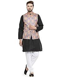 Mellow Rockstar Printed Festive Jute Nehru Jacket