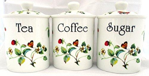 Fraises &Papillons thé/café/sucre en porcelaine Fine furnishing décoré à la main en forme de U. K.-gratuite