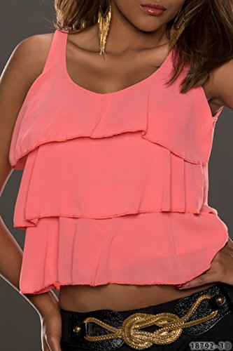 5215 Fashion4Young Damen Ärmelloses Träger-Top Chiffon Layer-Look verfügbar in 4 Farben Coral