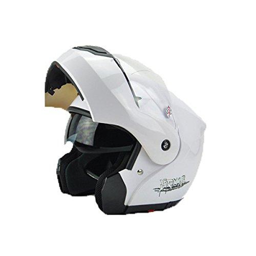 Blanc Moto Intégral Modulable Up Casque Double Bouclier pare-soleil anti-brouillard Taille gratuit