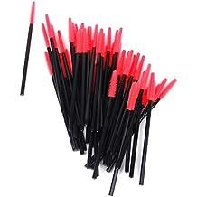 maltonyo17aprox. 50pcs desechable de pestañas cepillo Mascara Varitas Aplicador (negro y rojo)